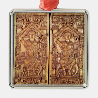 Consular diptych Anastasius  carved Silver-Colored Square Decoration