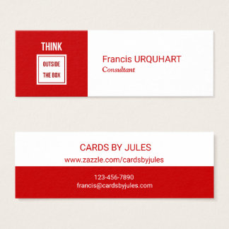 Consultant Red White Modern Professional Mini Business Card