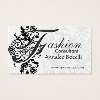 Consultant Sumptuosly Adorned Black Lace Monogram Business Card