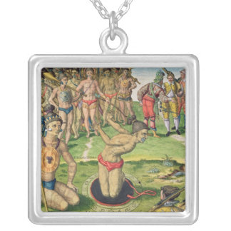 Consulting a Sorcerer, from 'Brevis Narratio' Square Pendant Necklace