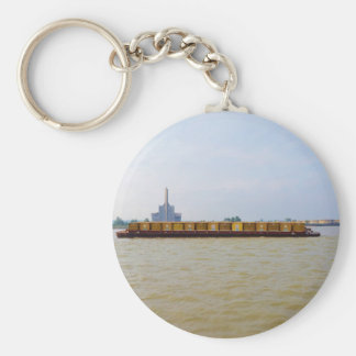 Container Barge Basic Round Button Key Ring