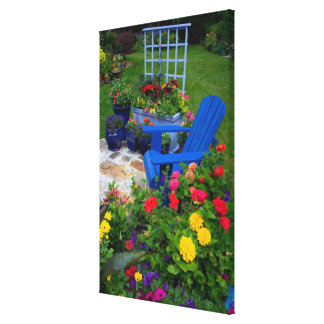 Container Garden design with blue chair in our Canvas Print