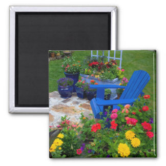 Container Garden design with blue chair in our Magnet