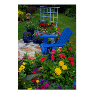 Container Garden design with blue chair in our Poster