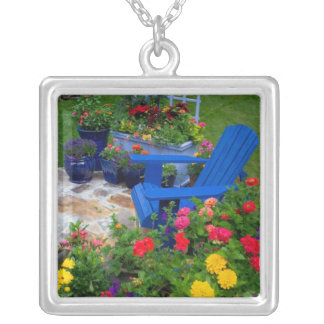Container Garden design with blue chair in our Silver Plated Necklace