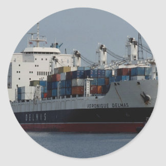 Container ship arriving at Tilbury docks, England Round Sticker