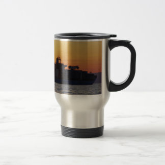 Container ship at sunset stainless steel travel mug