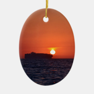 Container Ship Sunset Christmas Ornament