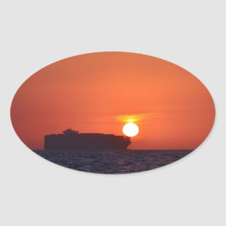 Container Ship Sunset Oval Sticker