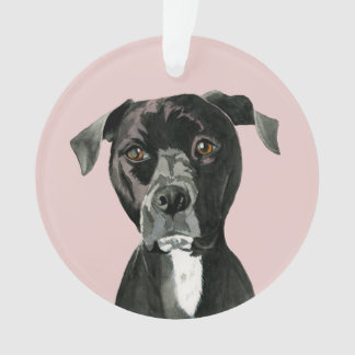 """""""Contemplating"""" Pit Bull Dog Painting Ornament"""