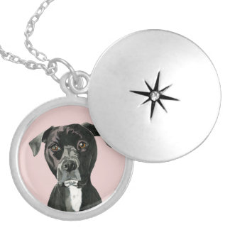 """""""Contemplating"""" Pit Bull Dog Painting Silver Plated Necklace"""
