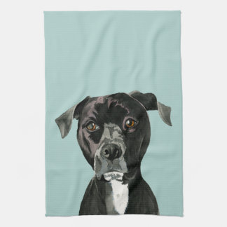 """Contemplating"" Pit Bull Dog Painting Tea Towel"