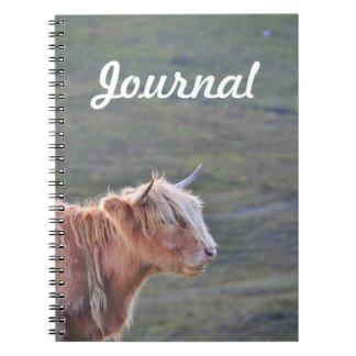 Contemplative Cow Long Blonde Hair Horns Journal Note Book