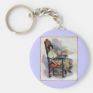 Contemplative Lady with Valentine Basic Round Button Key Ring