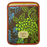 Contempo Floral (Brown / Lime / Blue) Personalised iPad Sleeve