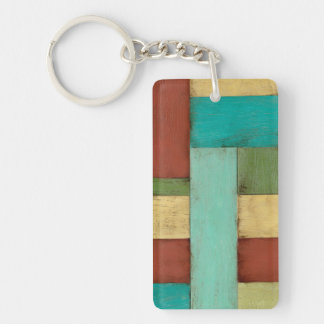 Contempoary Coastal Multicolored Painting Double-Sided Rectangular Acrylic Key Ring