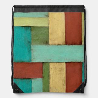 Contempoary Coastal Multicolored Painting Drawstring Bag