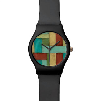 Contempoary Coastal Multicolored Painting Watch