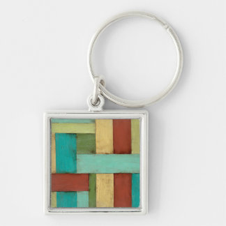 Contempoary Coastal Multicolored Painting Silver-Colored Square Key Ring