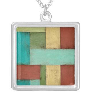 Contempoary Coastal Multicolored Painting Square Pendant Necklace