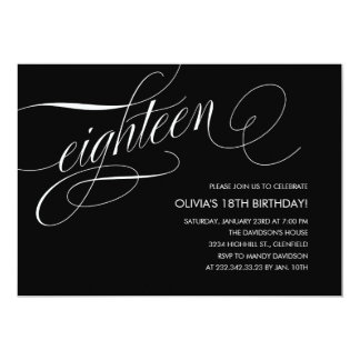 "Contemporary 18th Birthday Invitations 5"" X 7"" Invitation Card"