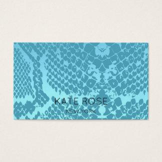 Contemporary Aquamarine Aquatic Blue Snake Skin Business Card