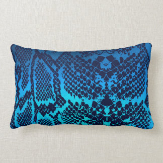Contemporary Aquamarine Marine Snake Python Skin Lumbar Cushion