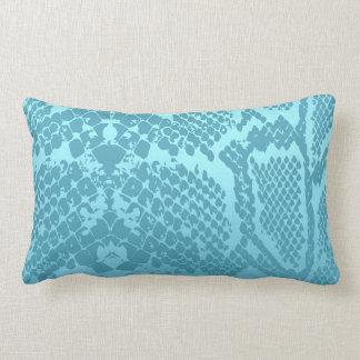 Contemporary Aquamarine Pastel Snake Python Skin Lumbar Cushion