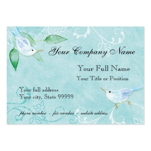 Contemporary Birds 'n Swirls Blue Business Cards