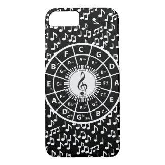 Contemporary black and white music wheel design iPhone 7 case