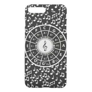 Contemporary black and white music wheel design iPhone 7 plus case