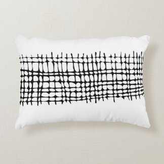 Contemporary Black and White Organic Grid Decorative Cushion