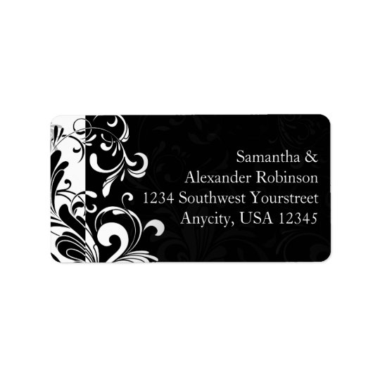 Contemporary Black and White Swirl Address Label