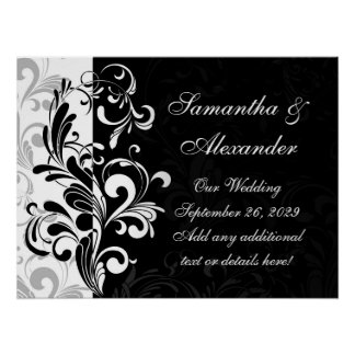 Contemporary Black and White Swirl Poster