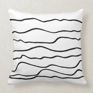 Contemporary Black and White Wavy Lines Cushion