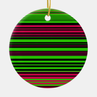 Contemporary black green and pink stripes christmas ornaments
