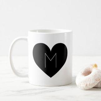 Contemporary Black Heart Simple Monogram Mug