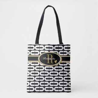 Contemporary Black & White Ovals Monogrammed Tote Bag