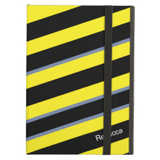 Contemporary Black Yellow pigeon blue stripes Cover For iPad Air