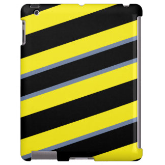 Contemporary Black Yellow pigeon blue stripes iPad Case