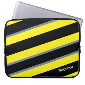 Contemporary Black Yellow pigeon blue stripes Laptop Sleeve