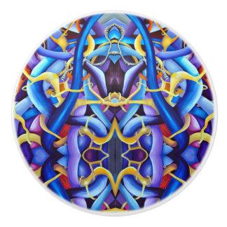 Contemporary Blue Abstract - Depth Illusion Ceramic Knob