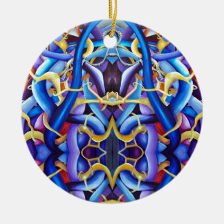 Contemporary Blue Abstract - Depth Illusion Christmas Ornament