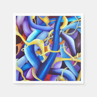 Contemporary Blue Abstract - Depth Illusion Disposable Napkins