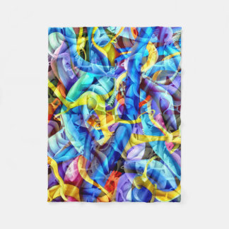 Contemporary Blue Abstract - Depth Illusion Fleece Blanket