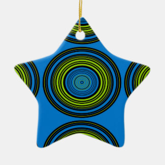 Contemporary blue and green circles ceramic star decoration