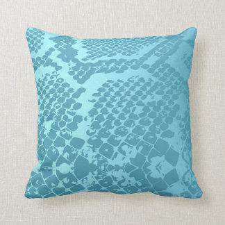 Contemporary Blue Aquamarine Snake Python Skin Throw Pillow