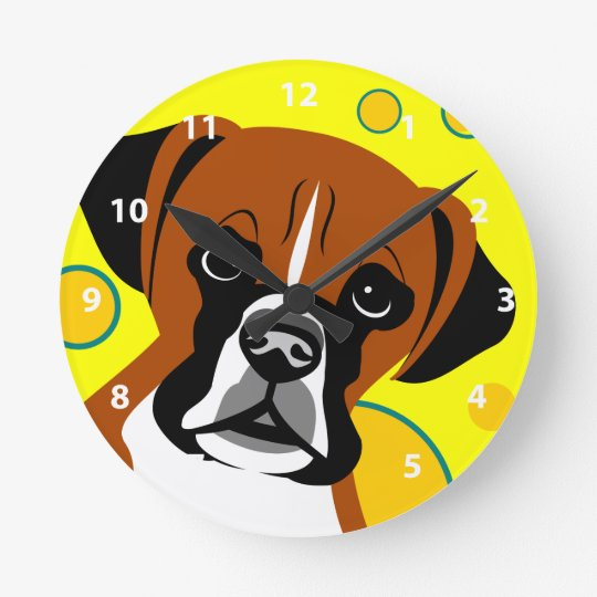 Contemporary Boxer Dog Gifts Round Clock
