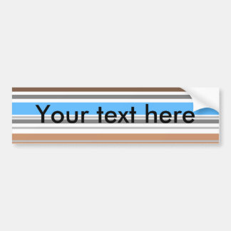 Contemporary brown and blue horizontal stripes bumper sticker