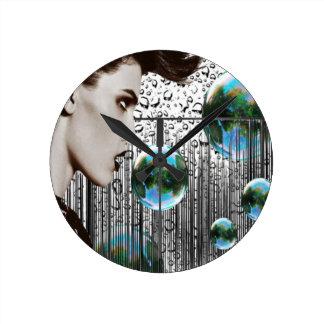 Contemporary Bubble Girl monochrome clock
